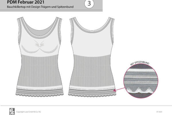 Bauchkillertop mit Design-Trägern und Spitzenbund